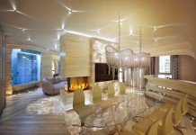 Jellyfish-inspired lighting and a wall of jellyfish enhance this gorgeous interior (architectureadmirers)