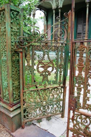 Traditional iron garden gate