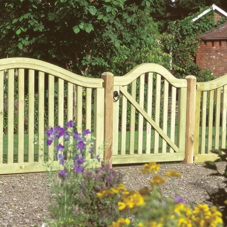 Pretty curved wood garden gate