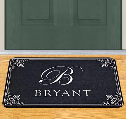 A personalized front door mat