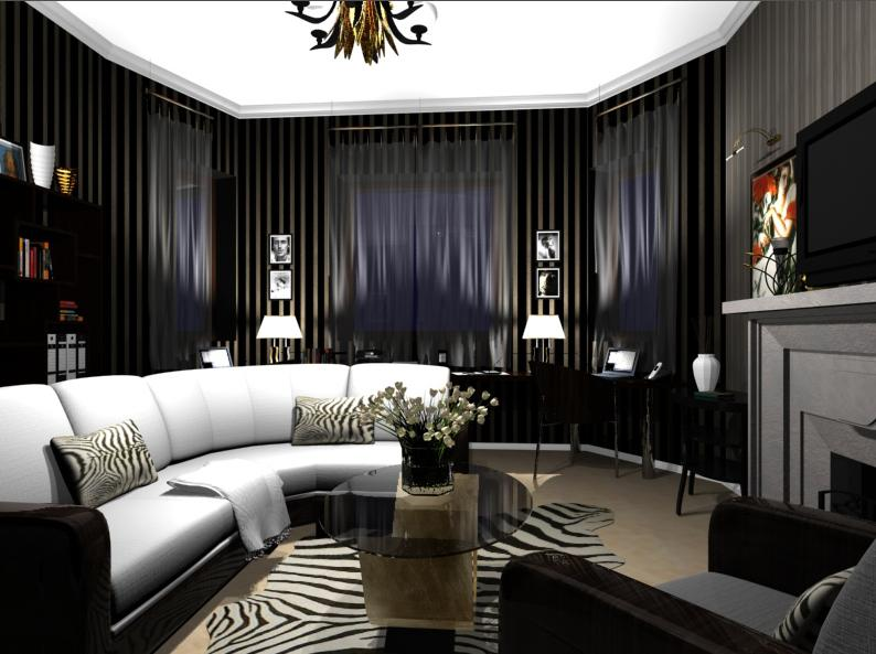 wonderful Art Deco Living Room Ideas Part - 20: Dark furnishings and moody lighting turn this room into a brooding and  masculine living room (