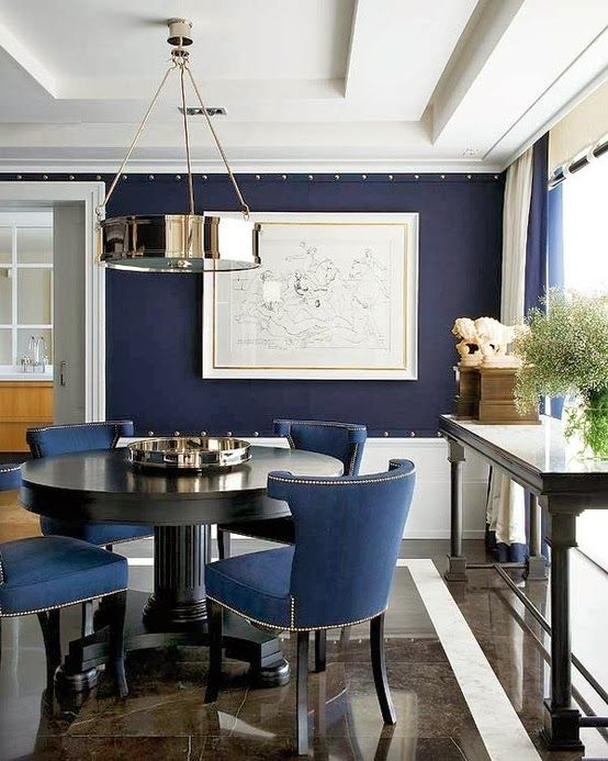 Indigo blue and denim for your home for Navy dining room ideas