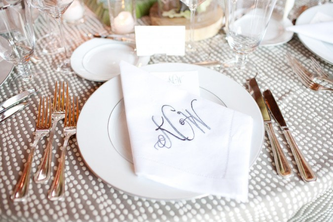 Monogrammed napkins are sophisticated