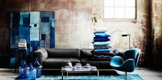 Indigo accents with a gray sofa