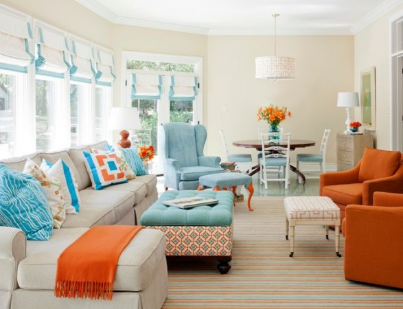 A fresh and summery living room in aqua and coral