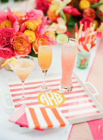 Monogrammed trays are great for entertaining