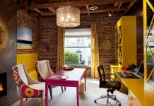 Create a more feminine home office with bright colors and statement lighting