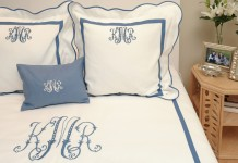 Monogrammed bedding adds a personal touch