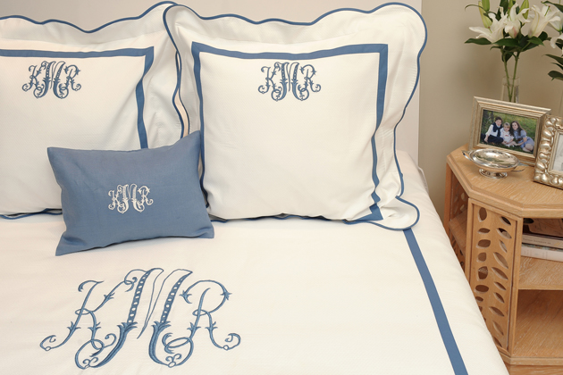 White Monogrammed Bedding
