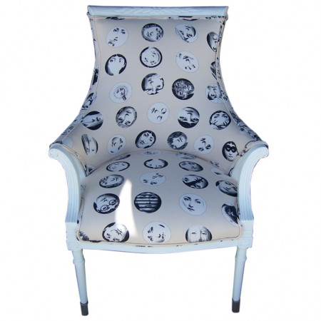 Fornasetti fabric makes a great accent piece