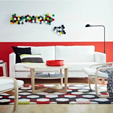 Colorful area rug lifts this space