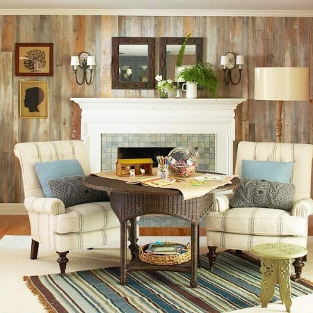 Reclaimed wood walls add warmth and character to this room