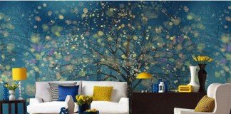 Fascinating wall mural with yellow accents (pinterest.com)