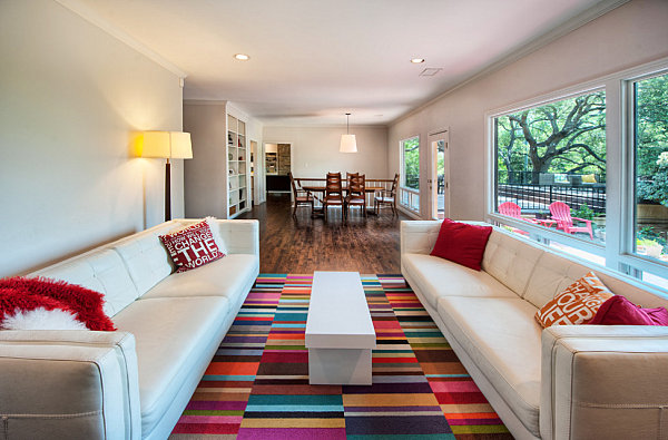 Blocks of bold color in this area rug enhance this space