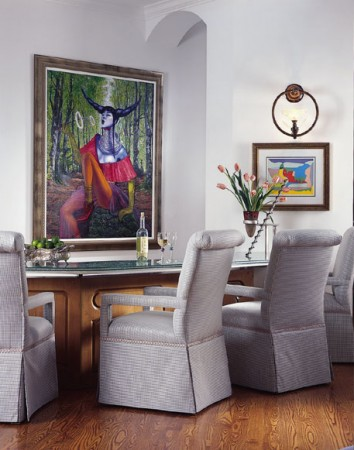 A unique painting raises this room from ordinary to statement-worthy