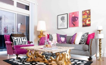 Pink and gold interior with black accents modernizes