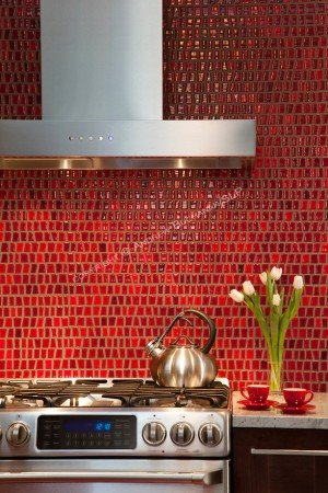 Beautiful red tile backsplash
