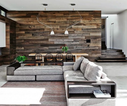 Reclaimed wood highlights this modern living room