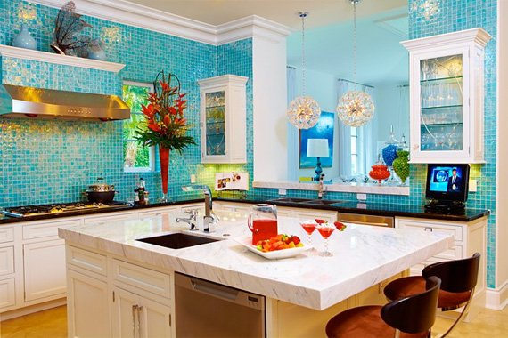 Bright aqua tile gives this kitchen a tropical vibe