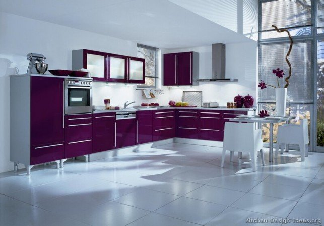 Purple kitchen cabinets are an unexpected feature in this kitchen