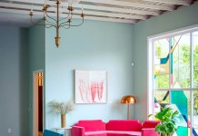Bright jewel tones create a balanced and vibrant modern room