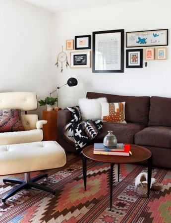 Tribal print rug anchors this space