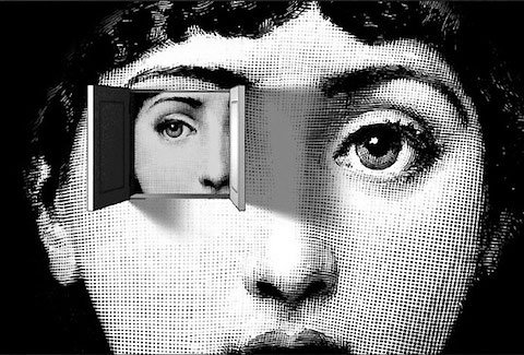 One of the many variations of Piedro Fornasetti's motif of Lina Cavalieri's face