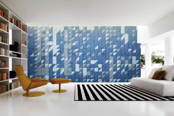 Colorful leather tiles create a great modern wall treatment