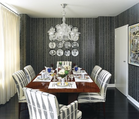Fornasetti plates accent this black and white dining room
