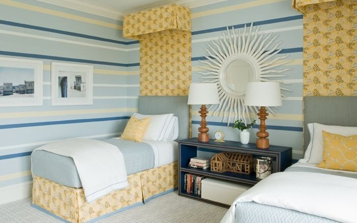 Coordinated bedding and a shared dresser serve this guest room with twin beds well
