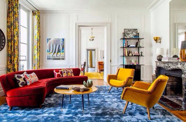 A mix of bold colors combine to enliven this space