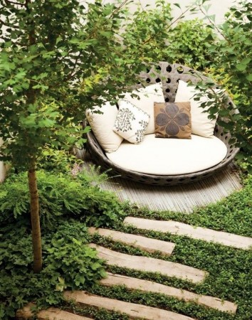 A cozy reading spot or retreat in the backyard