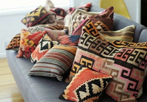 Tribal print pillows add color and texture to rooms