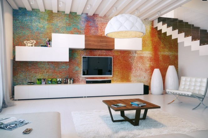 Painting brick in a rainbow of color really makes this room pop