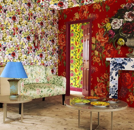 Bold blooms encase this room