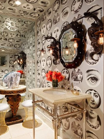 Fornatelli wallpaper enhances this glamorous powder room
