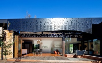 Perforated panels enhance this home