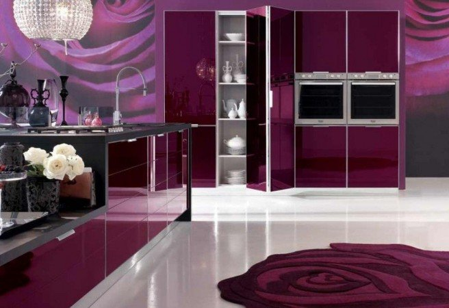 Purple walls and cabinets make an impact in this kitchen