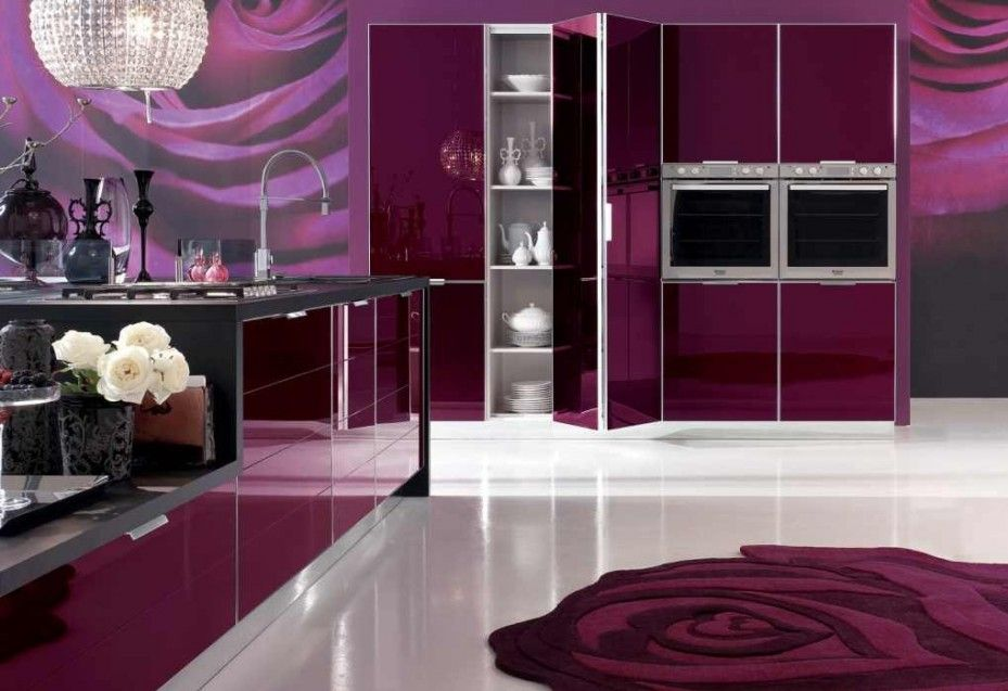 Stunning Purple Walls And Cabinets Make An Impact In This Kitchen U With Red And Black Kitchen Designs