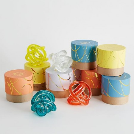 Colorful glass knot table accessories from West Elm