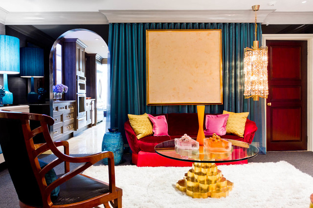 A bold expression of color blends together in this room