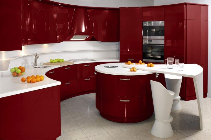 Red cabinets highlight this vibrant kitchen