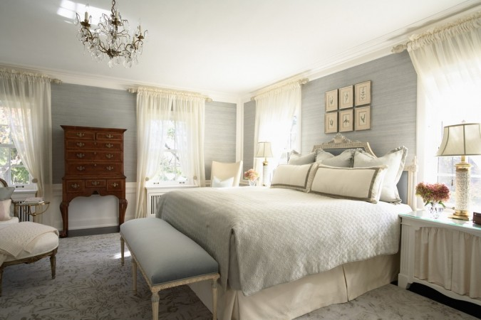 Soothing gray and cream keep this bedroom restful
