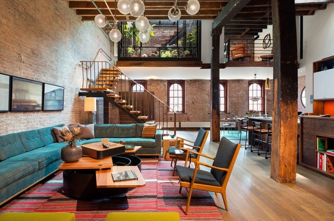 Exposed brick wall adds texture and character