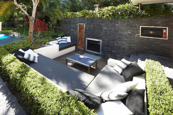 Modern amenities create a versatile outdoor living space