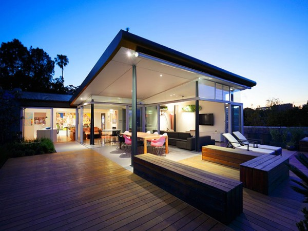 Modern outdoor living space at night