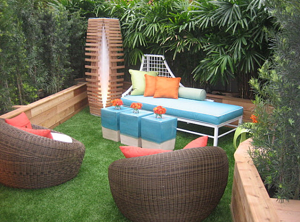 Colorful seating in this modern outdoor living area