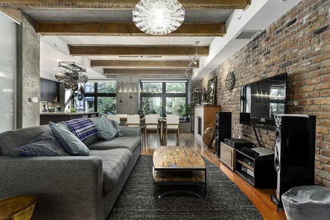 Gray exposed brick adds texture