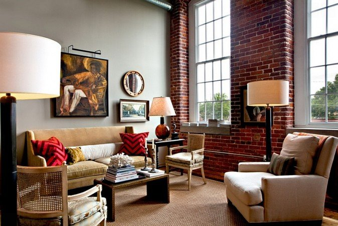 A brick accent wall