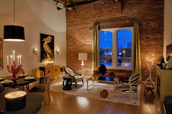 An exposed brick wall